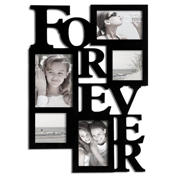 Adeco Black Wood 'Forever' Collage Hanging 5x7 / 4x6 / 4x4 Photo Frame with 5 Openings