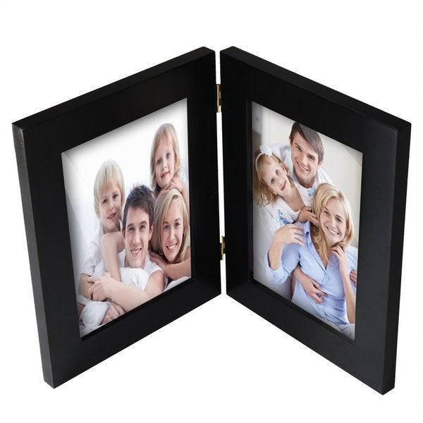 Adeco Decorative Black Wood Hinged Table Desk Top 5x7 Photo Frame with 2 Vertical Portrait Openings