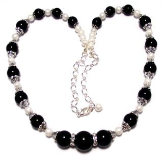 Jet Black and Moonscape Glass Pearl 4-piece Wedding Jewelry Set