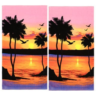 Palm Tree Sunset Cotton Beach Towel (Set of 2)