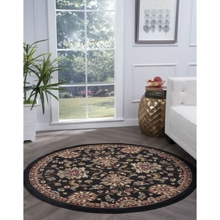 Lagoon Charcoal Transitional Area Rug (5'3 Round)