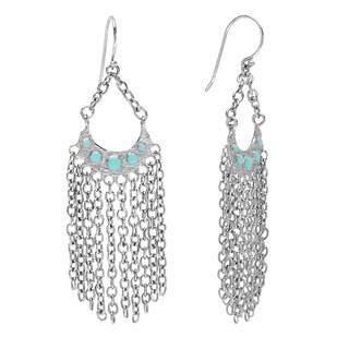 Ibiza Blue Resin Fringed Dangle Earrings
