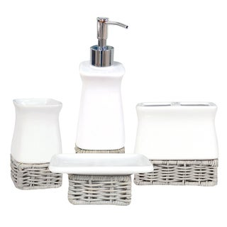 Amherst White and Grey Ceramic Bath Accessory 4-piece Set
