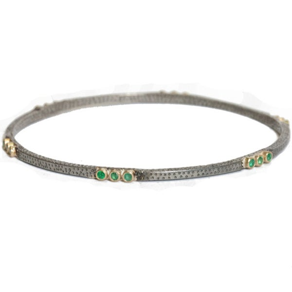 Antiqued Sterling Silver and Yellow Gold Emerald Bangle Bracelets
