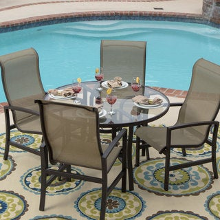 Acadia 5-piece Sling Patio Glass Top Table Dining Set