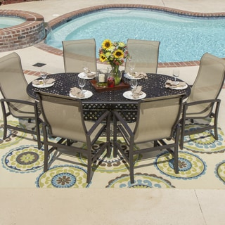 Acadia 7-piece Sling Dining Cast Aluminum Table Set with Stacking Chairs