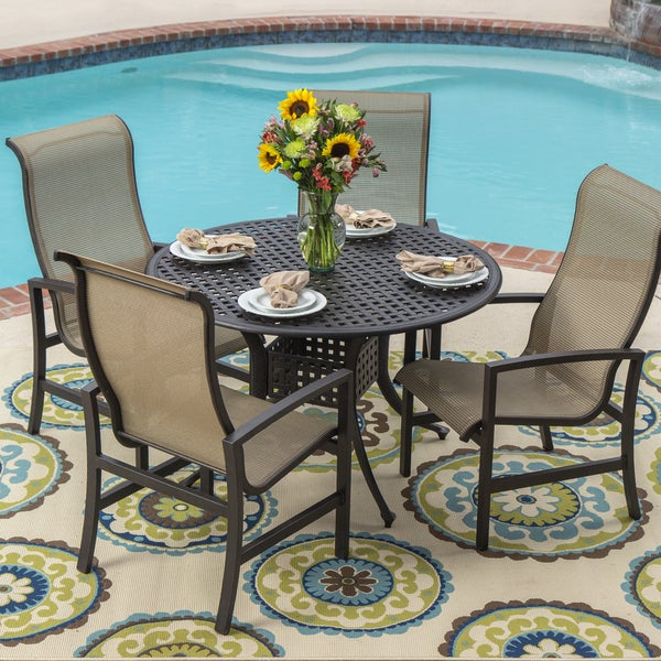 Acadia 5 piece Sling Patio Cast Aluminum Table Set with Stacking Chairs Ove