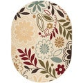 Lagoon Beige Oval Contemporary Area Rug
