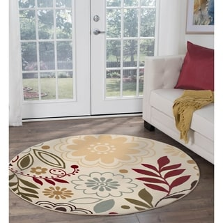 Lagoon Beige Contemporary Area Rug (5'3 Round)