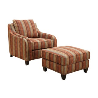 Emerald Tangerine Stripe Accent Chair and Ottoman