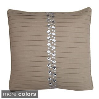 Diana Faux Linen Pleated Feather Throw Pillow
