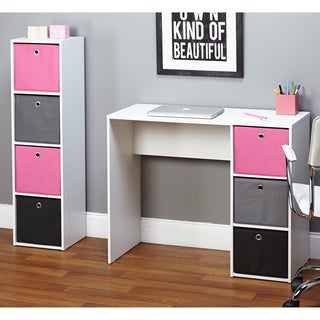 jolie pink writing desk and bookcase set