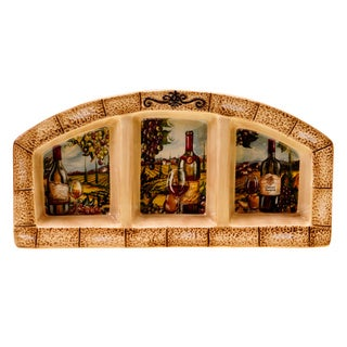 Hand-painted Tuscan View 14.5-inch Rectangular Ceramic 3-section Server