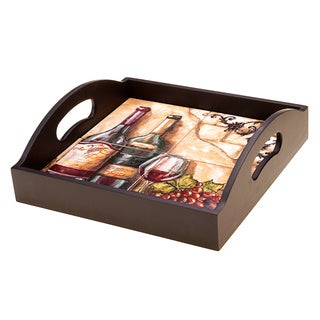 Hand-painted Tuscan View 12.75-inch Square 4-tile Wood Tray with Handles