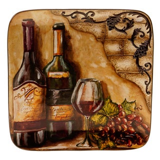 Hand-painted Tuscan View 14.5-inch Square Platter