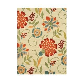 EORC Hand-tufted 'Spring Garden' Beige Wool Rug (5'x7')