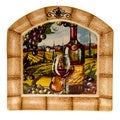 Hand-painted Tuscan View 13-inch Ceramic Arched Platter