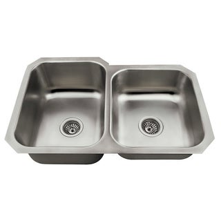 Polaris Sinks PL3501US Offset Double Bowl Stainless Steel Kitchen Sink