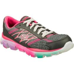 Girls' Skechers GOrun Ride 2 Gray/Neon-Pink