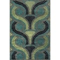 Carrara Grey/ Green Viscose Rug (7'6x10'6)