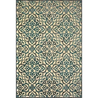 "Grand Bazaar Power Loomed Viscose Carrara Rug in Cream / Marine 7'-6"" X 10'-6"""