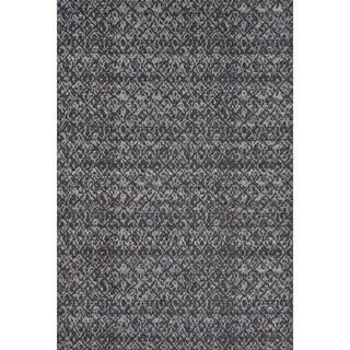 Settat Black/ Dark Grey Graphic Wool Rug (7'10x11')