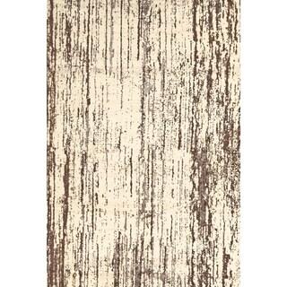 Settat Cream/ Brown Graphic Wool Area Rug (7'10x11')