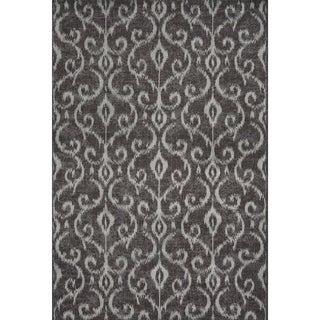 Settat Dark Grey Ikat Wool Area Rug (7'10x11')