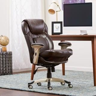 Serta Frye Chocolate Eco-friendly Bonded Leather Back in Motion Health & Wellness Mid-Back Office Chair
