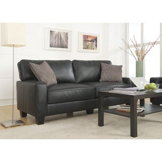 Serta Santa Rosa Collection Smooth Black Bonded Leather Deluxe Sofa