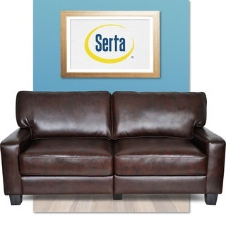 Serta Monaco Collection Biscuit Brown Bonded Leather Sofa