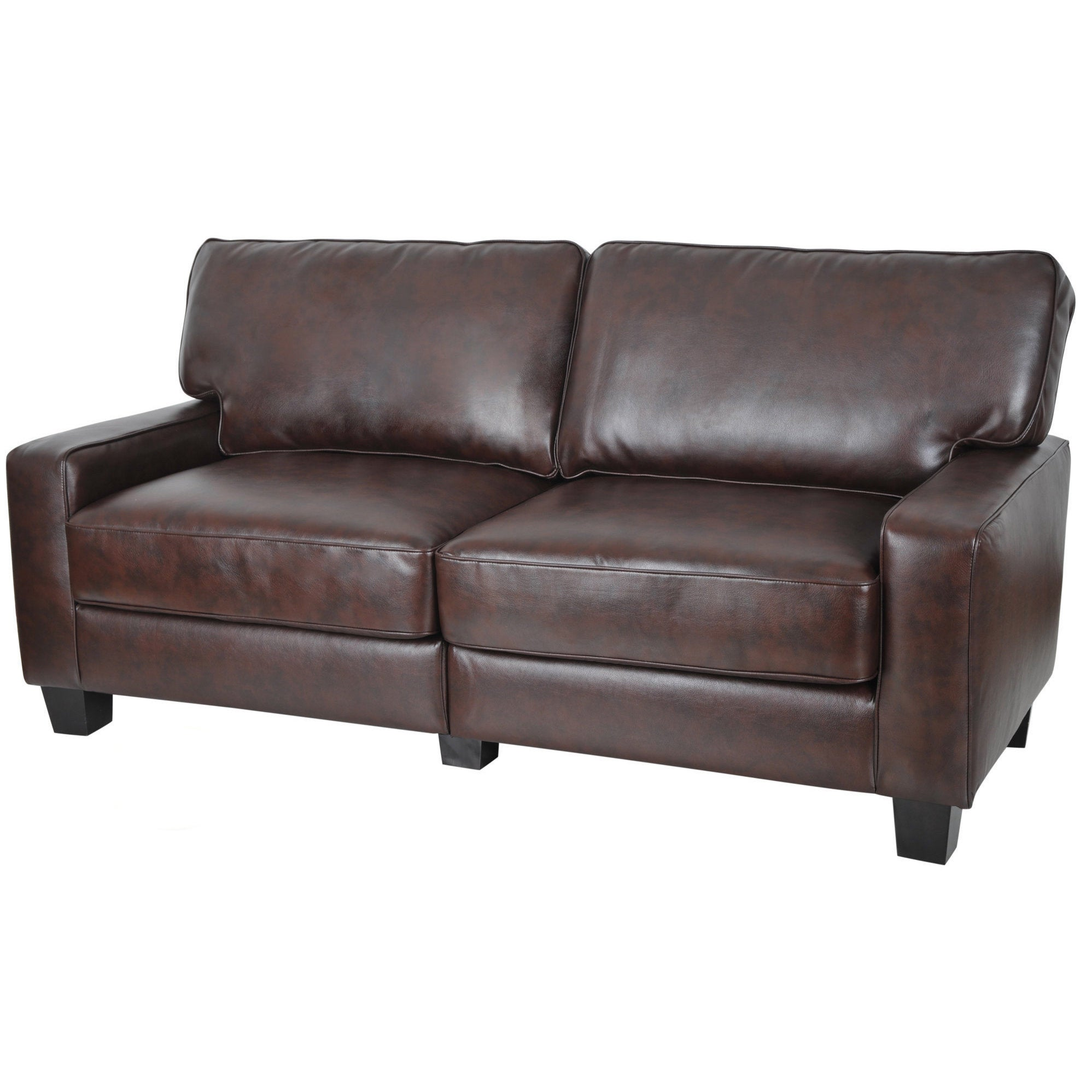 Serta Monaco Collection Biscuit Brown Bonded Leather Sofa Overstock Shopping Great Deals On