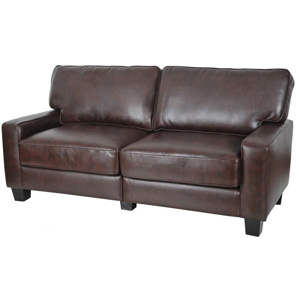 serta rta monaco collection 72 inch brown leather sofa