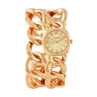 Vernier Paris Women's Rose Gold-tone Chain Link Double Wrap Watch
