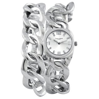 Vernier Paris Women's Crystal Silver-tone Chain Link Double Wrap Watch