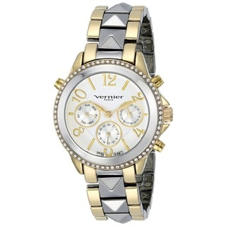 Vernier Paris Multi-Function Swiss Quartz Two-tone Pyramid Bracelet Watch