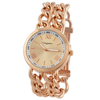 Vernier Paris Women's Rose Goldplated Double Box Chain Link Watch