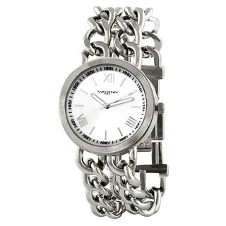 Vernier Paris Women's Silver-tone Double Box Chain Link Watch