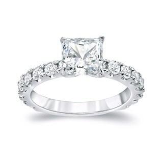 Auriya 14k Gold 2 1/2ct TDW Certified French Pave Princess Diamond Ring (H-I, SI1-SI2)