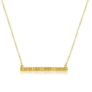 Gold Overlaid Textured Bar Pendant Necklace