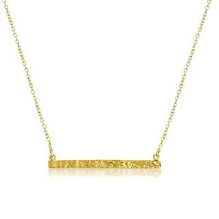 Belcho Gold Overlaid Textured Bar Pendant Necklace