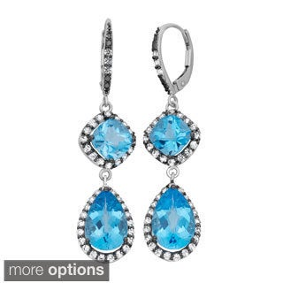 Gioelli Sterling Silver Gemstone Polished Leverback Dangle Earrings