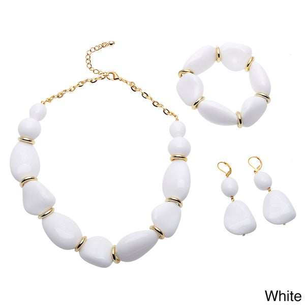 Alexa Starr Opaque Freeform Bead Necklace, Bracelet and Earring Jewelry Set
