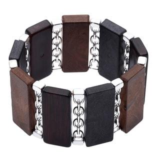 Alexa Starr Metal-wood Rectangular Link Stretch Bracelet