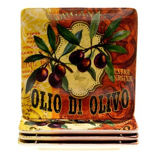 Hand-painted Oli Di Oliva 10.5-inch Ceramic Dinner Plates (Set of 4)