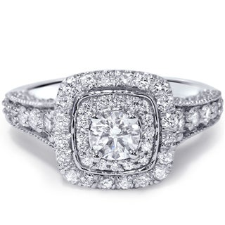 Bliss 14k White Gold 1 1/2ct TDW Vintage Diamond Ring (H-I, I1-I2)