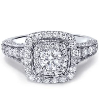14k White Gold 1 1/2ct TDW Cushion Vintage Diamond Ring (H-I, I1-I2)