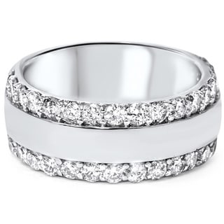 14k White Gold 2 3/ 4ct TDW Diamond Double Row Band (I-J, I2-I3)