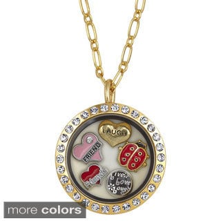 Charming Locket Round Rhinestone Friends Charm Locket