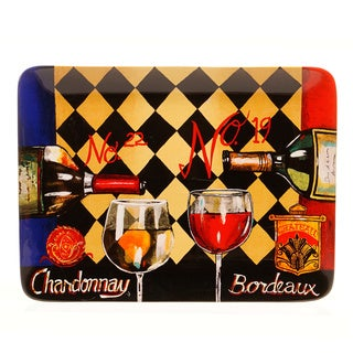 Hand-painted Tasting Room 16-inch Rectangular Ceramic Serving Platter
